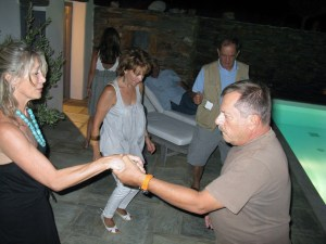 Our wonderful hosts Pascal and Thanasi dancing away and opening-up the KEFI