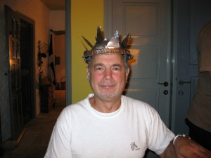 "Byron tests the ""Miss KAT"" crown for form and fit..."