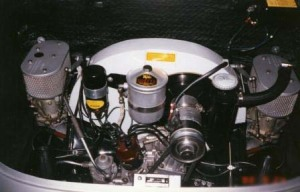 The Porshce 356B engine bay with twin Zenith carbs