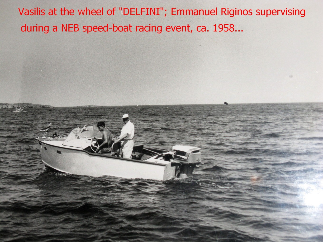 "DELFINI, a 16 ft. Chris-Craft made of marine plywood. Here powered by the legendary Evinrude 50 hp ""Selectric shift"". A complicated outboard motor breaking down often."