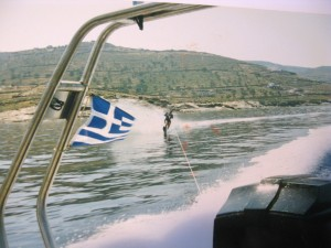 """MORUDA II"" was oftn used a ski boat. Here Byron slaloming, water-ski being a childhood learned sea sport."