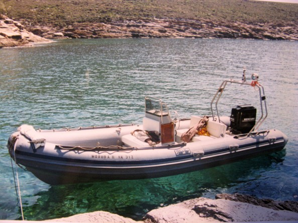 """MORUDA II"" was a fun easy to handle RIB that offered to us many nice outings exploring the island of Kea were she was based."
