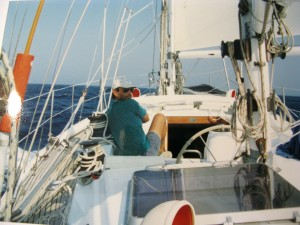 """S/Y Sunny"" offered to us many sunny days, sailing both on the Aegian and Ionian Seas. Co-owner Spilio looks back as the obedient autopilot ""Sklavos"" (the slave) maintains us on course."