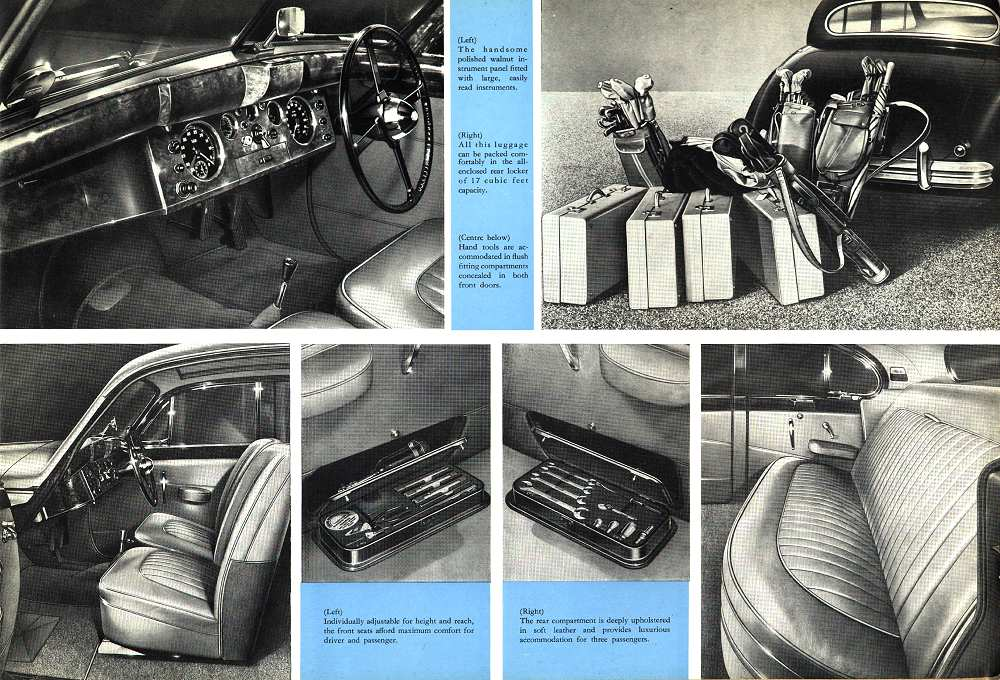 A period brochure depicts nicely the interior features of this luxury car, yet offered by the shrewed William Lyons at an affordable price, targeting successfully the vast USA market.