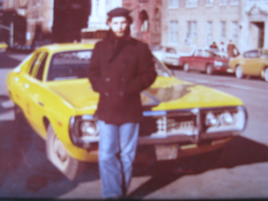 Byron as a New York City taxi driver in  1969. Here at W.70th Street outside my brothers apartment.
