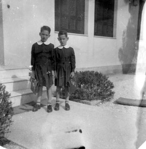 Byron & Nikos on our 1st day of school: 1-10-1955. In Voula. I still recall the leathery smell of the schoolbag.