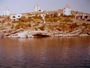 """""""Makriopounda Bay"""" & windmills ca. 1980. Our friend's Goeorge & Evi one in the middle."""