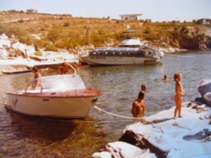 The Kea Beach 'Sea Taxi' in the back and our friend's Boesch ski boat in Koundouros ca. 1982
