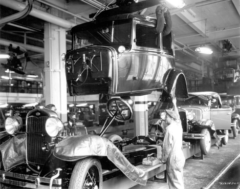 A Ford Mod. A Coupe being assembled.