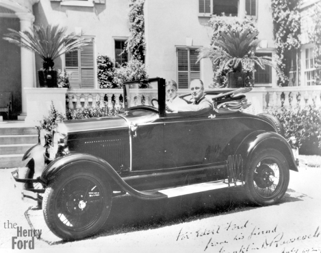 President Franklin Roosevelt in a Ford Mod. A Roadster.