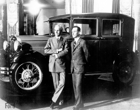 Henry Ford and his son Edsel in front od a Mod. A Fordor.