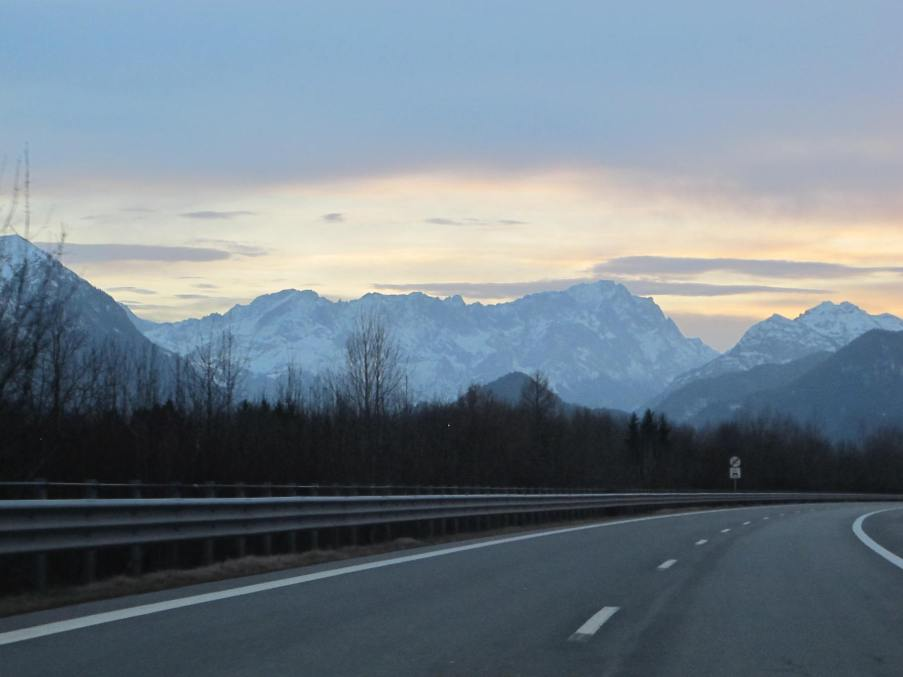 First view of the Alps from the Autobahn!