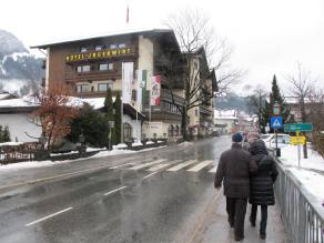 Entering the picturesque Kitzbuhel ski town