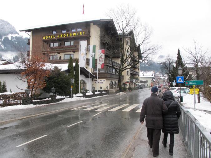 Entering the picturesque Kitzbuhel ski town