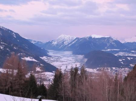 Fourth day: room with a sunny but snow covered view: ready to visit Innsbruck