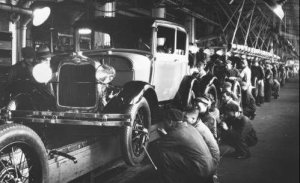 Ford Mod. A's being assembled at the Rouge line.