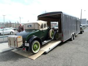 The Model A is being loaded onto an enclosed car transport for the journey from Canton, Ohio to New Jersey Port