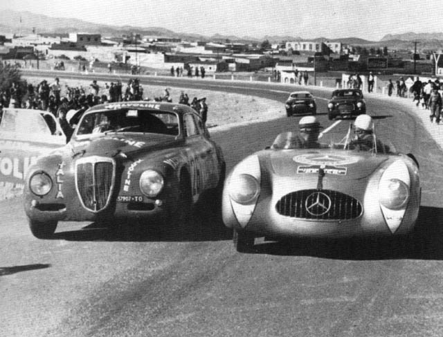 The D20GT with the mighty Mercedes-Benz 300 at the 1952 Carrera Panamericana in Mexico.