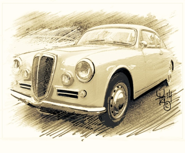 Lancia Aurelia B20 drawing by Athanase!