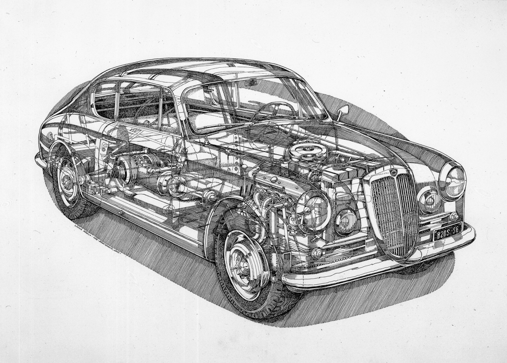 The B20S6 cutout drawing reveals many of the technical innovations introduced by the Lancia marque at the early 1950's