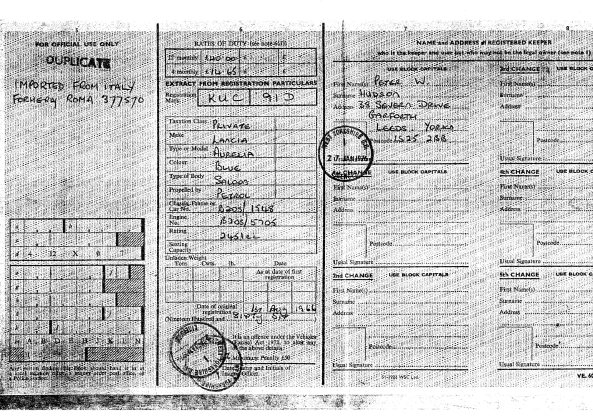 The British MOT Registration card.