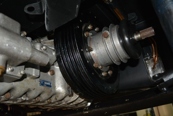 The transaxle and LH brake drum in position