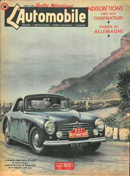 The Simca 8 Sport Coupé wins its Class during the 1950 Rallye Monte Carlo