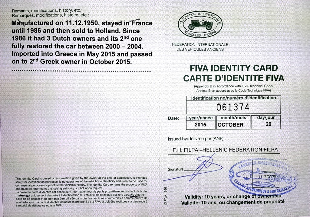 Her FIVA Identity Card No. 061374 was re-issued on Oct. 20th 2015, at time of ownership change. The Historic Vehicle plate No. is 5066.